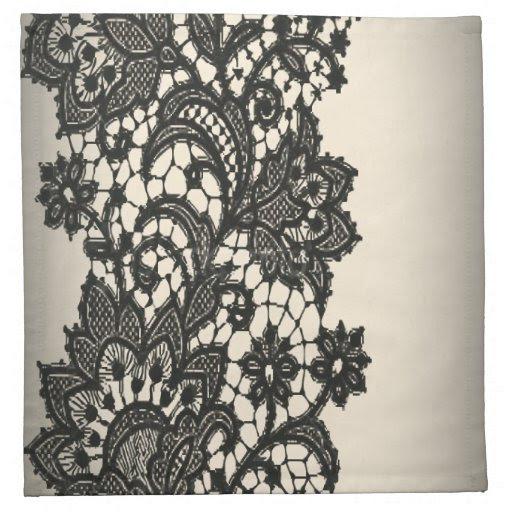 Vintage black Lace beige Paris Decor Napkins from Zazzle.
