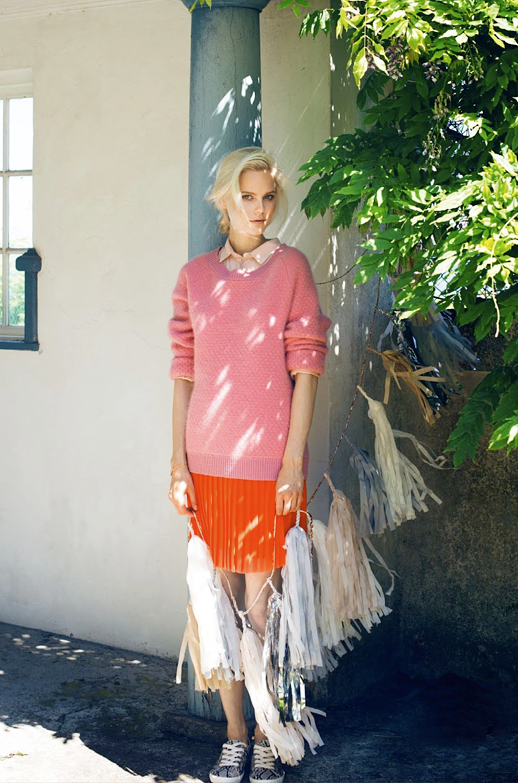 LE FASHION BLOG EDITORIAL EUROWOMAN LAZY DAYS HAIR UP DO NATURAL BEAUTY LIGHT PINK COLLARED BUTTON UP BRIGHT PINK HONEYCOMB SWEATER BRIGHT ORANGE PLEATED SKIRT PYTHON PRINT SNEAKERS Photographer Katrine Rohrberg Stylist Sara Jin Mi Olsen Hair Line Bille Make up Liv Worm Jensen Model Josefine Nielsen 9 photo LEFASHIONBLOGEDITORIALEUROWOMANLAZYDAYSPINKSWEATERORANGEPLEATEDSKIRTSNEAKERS9.png