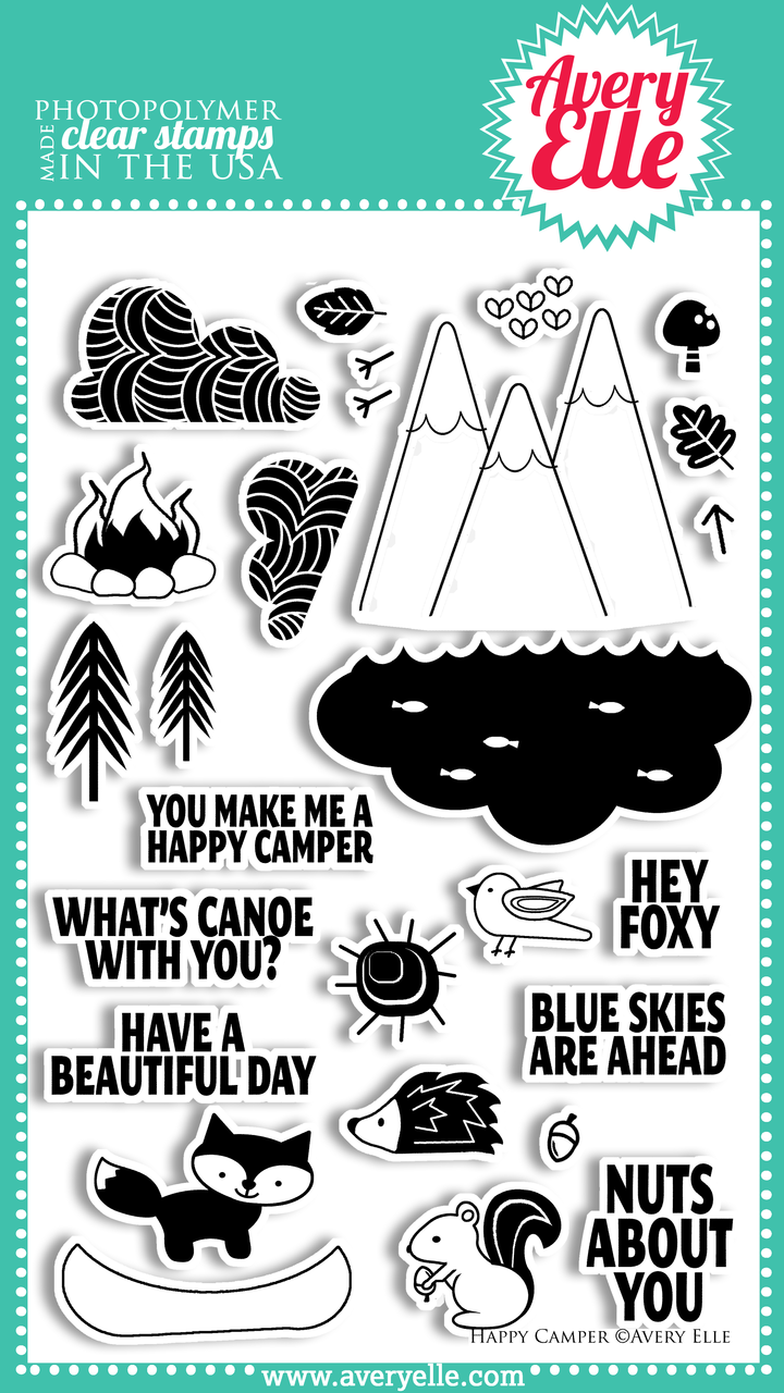 """We love our 4"""" x 6"""" Happy Camper clear photopolymer stamp set.  Use these cute outdoor and animal images to create your own custom outdoor scene.  The sentiments included in this set are perfect for both friends and family."""