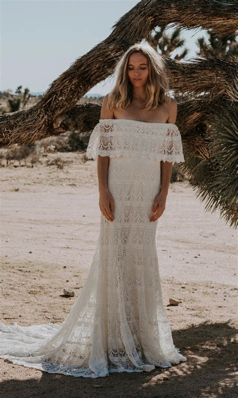 1970s Inspired Crochet Lace Off The Shoulder Wedding Dress