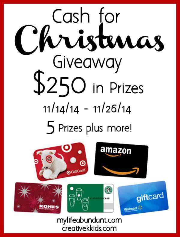 Cash for Christmas Giveaway $250