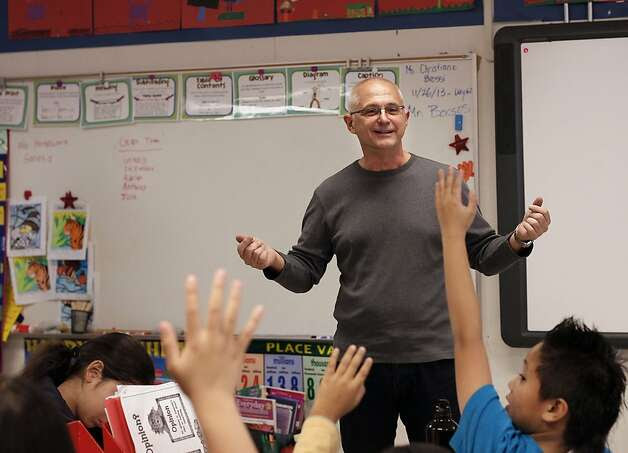 Brian Borsos, special education specialist from the S.F. school district office, substitutes at Guadalupe Elementary School. Photo: Michael Macor, The Chronicle