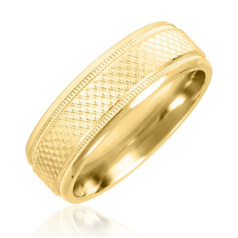 mens wedding band  yellow gold