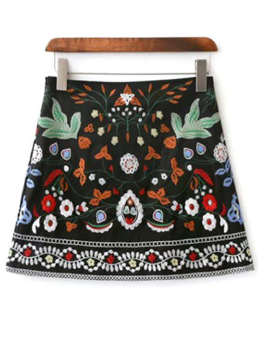 Mini Floral Embroidered Flare Skirt
