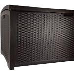 Suncast 99 Gallon Backyard Patio Garden Garage Home Wicker Resin Pool Box-Mocha by VM Express