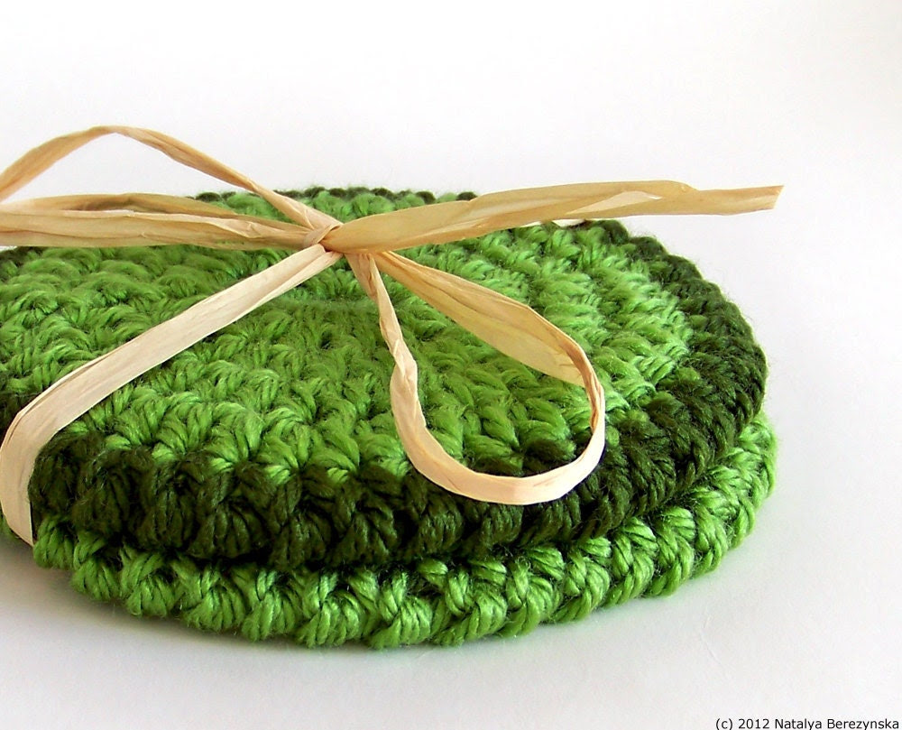 Crochet Coasters, Set of 2 - Green Emerald Grass Leaf Tree Olive Fresh Avocado - St Patricks Day - St Patrick Bright Geometric