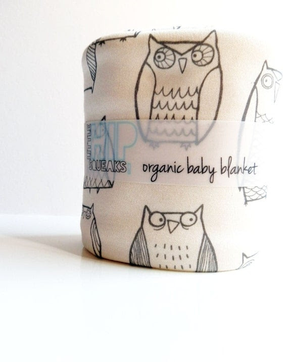 Owl Baby Blanket, Little Illustrated Owls, Eco Friendly Organic Cotton Baby Blanket, Etsy Kids