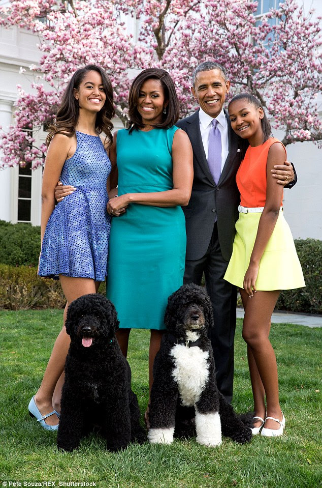 Both Malia (left) and Sasha (right) certainly look like sophisticated young ladies in on-trend skater dresses for a family portrait taken on Easter Sunday this year