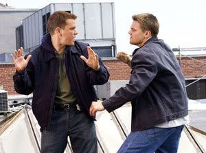 Billy Costigan confronts his mole counterpart, Colin Sullivan (Matt Damon).