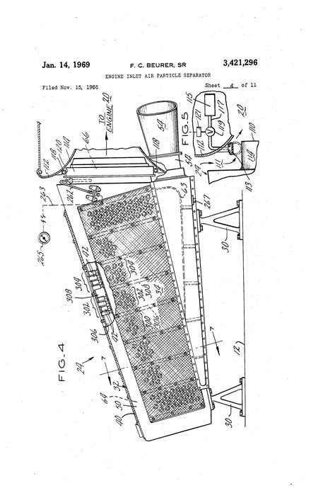 Patent US3421296 - Engine inlet air particle separator