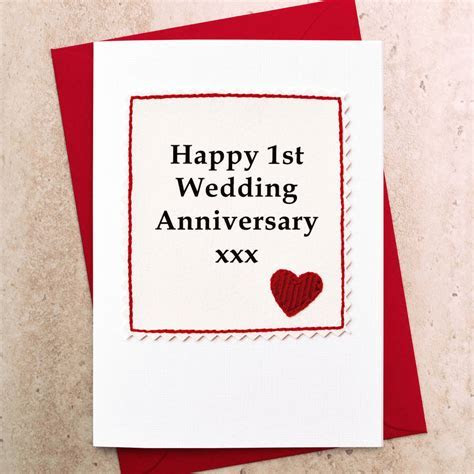 handmade first wedding anniversary card by jenny arnott