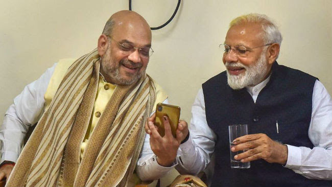 modi and amit shah after election result