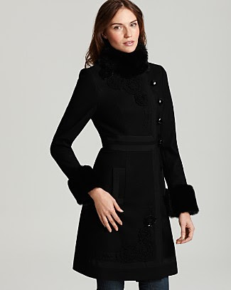 Quotation: Plenty by Tracy Reese Wool Coat with Faux Fur Trim