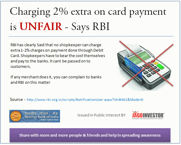 Merchants Cant charge extra on debit card payments