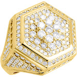 Diamond Pinky Ring Mens Round Cut 14K Yellow Gold Hexagonal Band 4.15 Ct. (22mm)