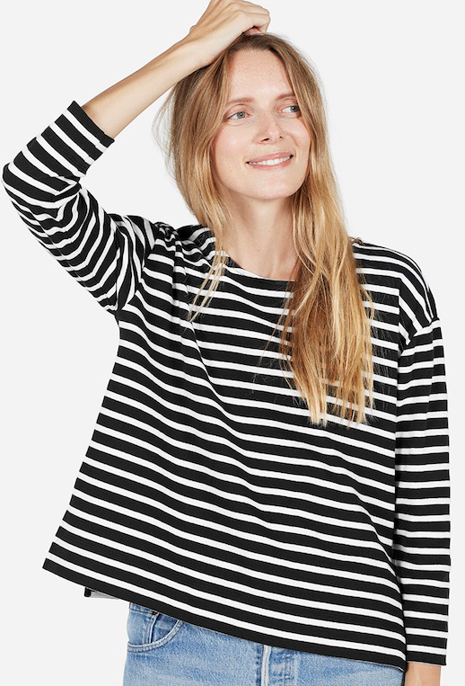 Le Fashion Blog Black And White Striped Tee Light Blue Levis Jeans Via Everlane