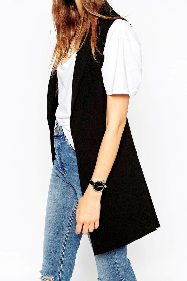 Le Fashion Blog Black Sleeveless Blazer Vest White T Shirt High Waisted Ripped Knee Jeans Black Round Watch Affordable Budget Friendly Style Via ASOS