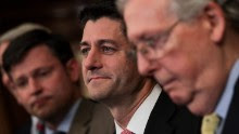 WASHINGTON, DC - SEPTEMBER 27: (L to R) Speaker of the House Paul Ryan (R-WI) and Senate Majority Leader Mitch McConnell (R-KY) looks on during a press event to discuss their plans for tax reform, September 27, 2017 in Washington, DC. On Wednesday, Republican leaders proposed cutting tax rates for the middle class, wealthy and businesses. Key questions remain on how they plan to offset the trillions of dollars in lost tax revenue. (Photo by Drew Angerer/Getty Images)
