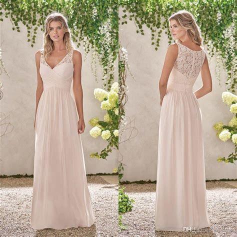 Classy Lace Bridesmaid Dresses Cheap Long A Line V Neck