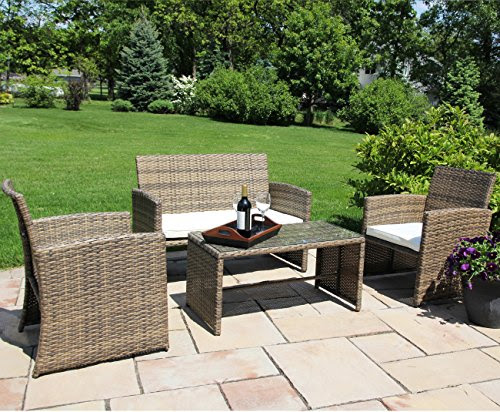 Ecolinear 4pc Rattan Sofa Cushion Seat Garden Patio Lawn ...
