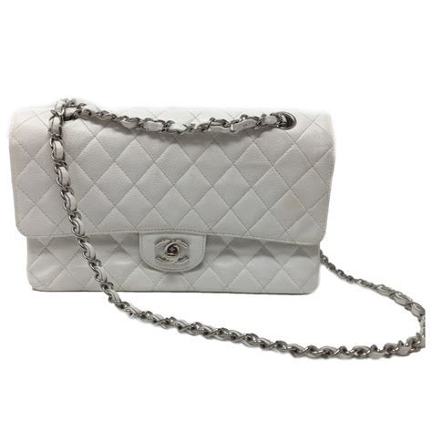 Chanel Classic Double Flap Bag, Caviar White Quilted