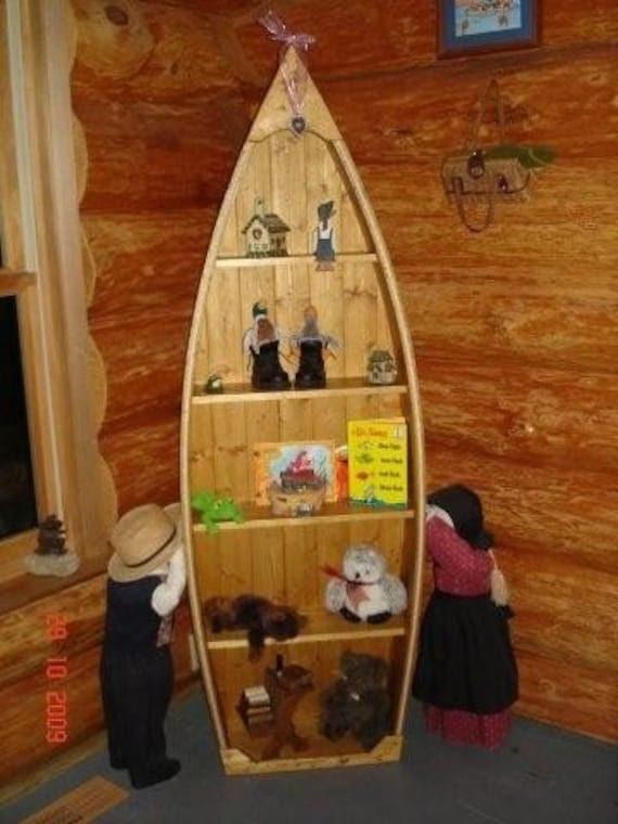 Handcrafted Wood Knotty Pine Row Boat shelf Bookcase bookshelf canoe