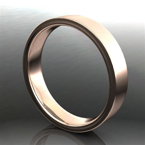 archer ring   men's 14k rose gold wedding band, brushed