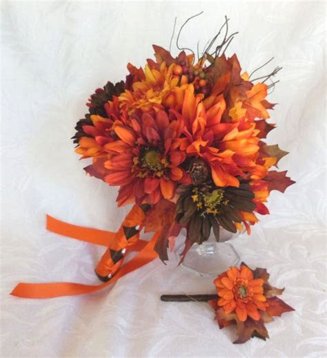 Fall colors Bridal bouquet silk flower wedding bouquet shades