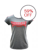 Lonsdale 2 Stripe Logo Crew T Shirt Women (Light Grey/Pink/Coral)
