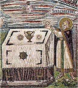 Melchidedek compie la sua offerta. Ravenna, Mosaici di San Vitale