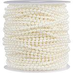 Pearl Garland - Round Pearl Bead Trim Spool for DIY Crafts, 3mm in Diameter, 33 Yards