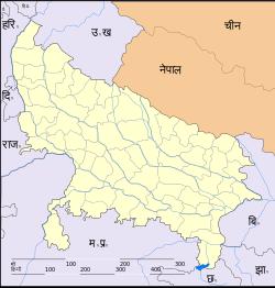 Map of उत्तर प्रदेशwith बस्ती marked