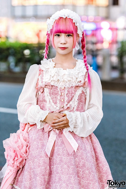 pinkhaired harajuku girl in japanese lolita fashion w