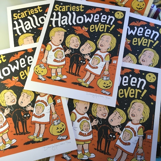 "Signed, limited edition ""Scariest Halloween Ever"" silkscreen prints are ready to ship! $40 & S&H - from @dannyhellman on Ello."