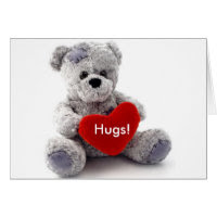 Grey Bear With Heart Greeting Card