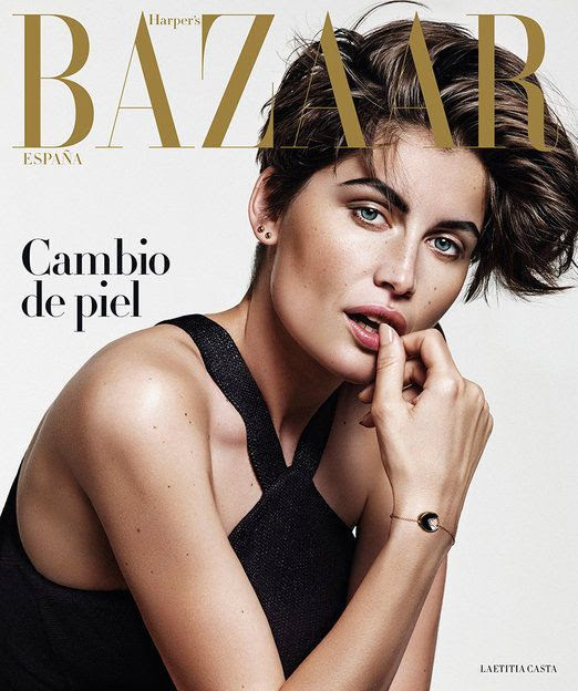 Le Fashion Blog Laetitia Casta Harpers Bazaar Spain August 2015 Short Asymmetrical Haircut Bold Brows Stud Earrings Shimmer Eyeshadow Beauty