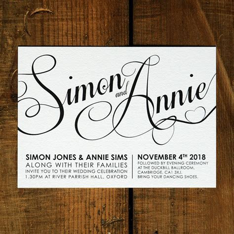 modern script wedding invitation stationery by feel good