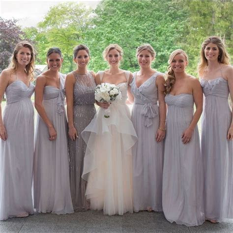 Grey mismatched floor length bridesmaid dresses   A Day Of