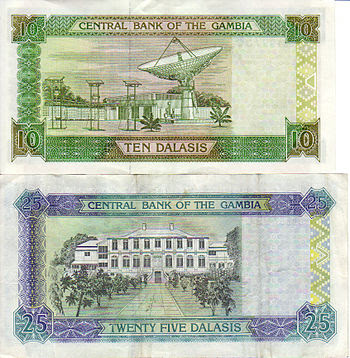 Reverse of 10 and 25 dalasi note