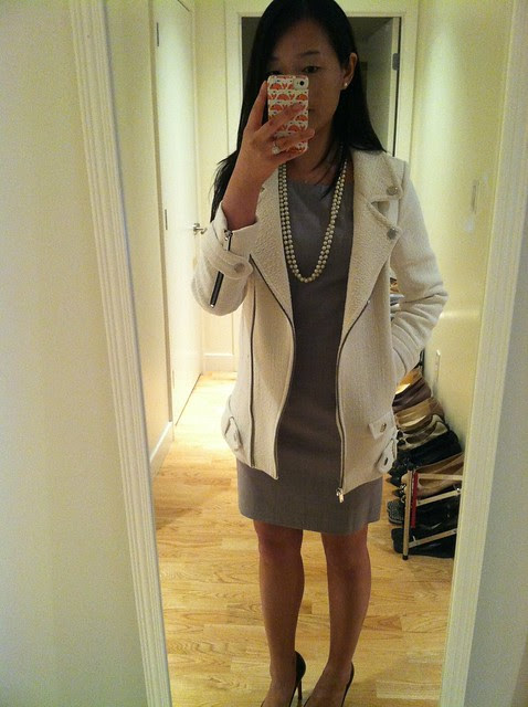 Theory Rikae sheath dress (sz 0) & Zara Combination Jacket with zips (sz XS)