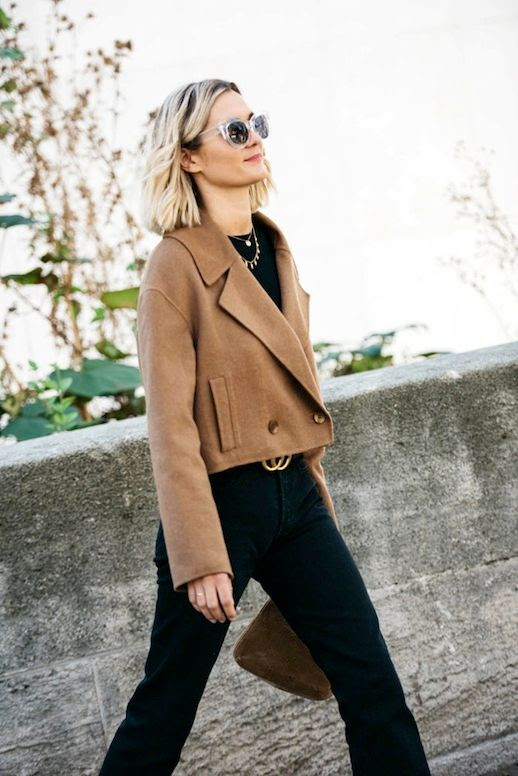 Le Fashion Blog Blogger Style Blonde Short Hair Clear Sunglasses Gold Layered Necklaces Tibi Wool Cropped Camel Jacket Black Tee Gucci Belt Trousers Via Adenorah