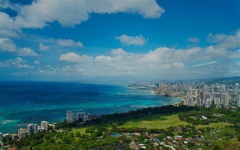 ocean sky stadt landschaft hawaii hintergrundbilder