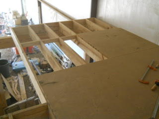 Next Barn Loft 8 Foot Section in Place with Plywood Flooring