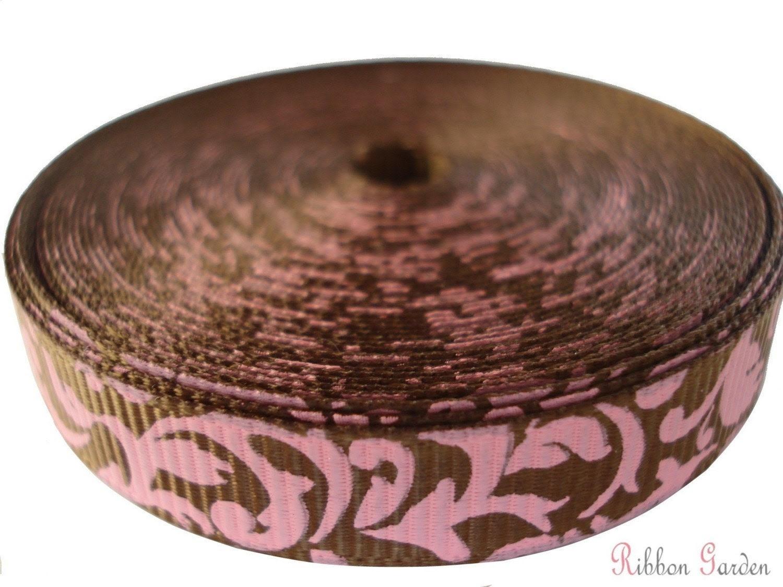 5 yards - Damask Swirls Grosgrain Ribbon - Light Brown and Pink - 3/8 inch wide - Damask Prints