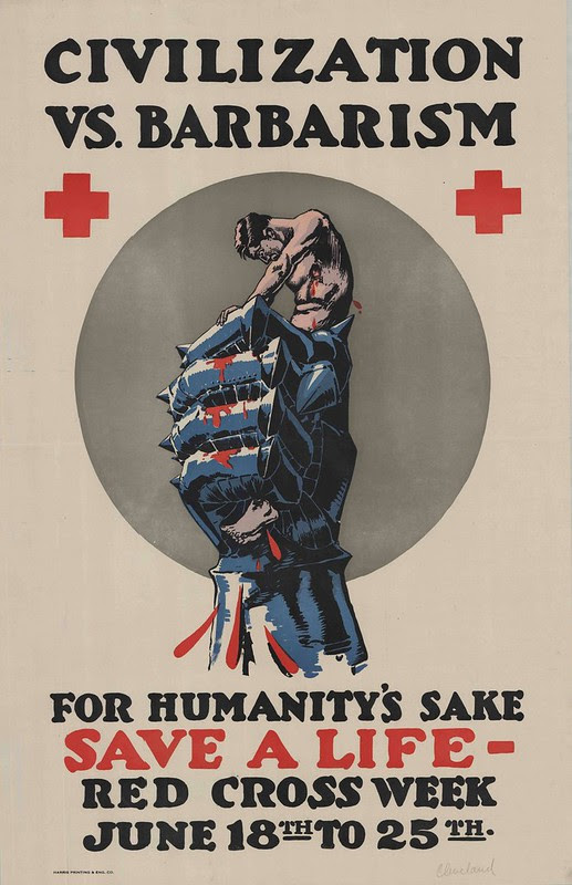 propaganda poster with severe illustration of bleeding man in grip of metal fist