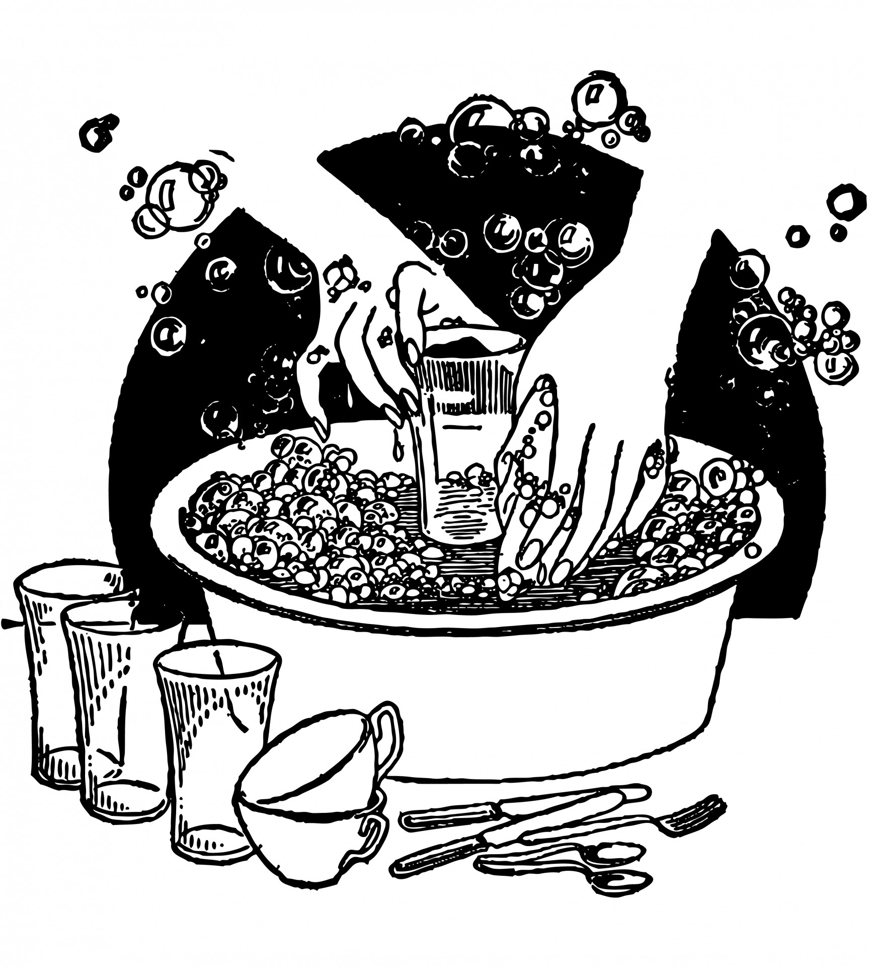 Washing Dishes Vintage Clipart