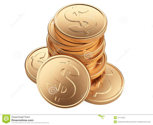 Stack Of Gold Coins Isolated On White Stock Illustration - Image: 47173522
