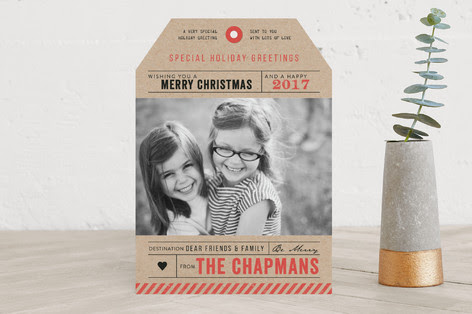 Destination Luggage Tag Holiday Photo Cards