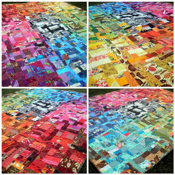 Amazing Technicolor Dream Quilt - different photo angles