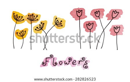 Set (1/2) of abstract black hand drawn flowers on watercolor blots in doodle style. Vector Illustration EPS8. - stock vector